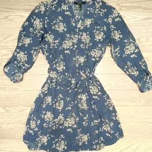 3/$50 F21 sheer floral shirt dress with belt small